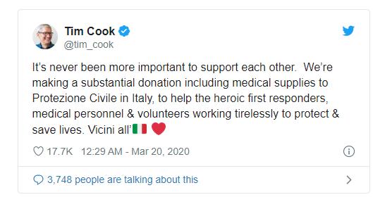 苹果承诺向意大利急救人员和医务人员提供大量捐款及医疗用品