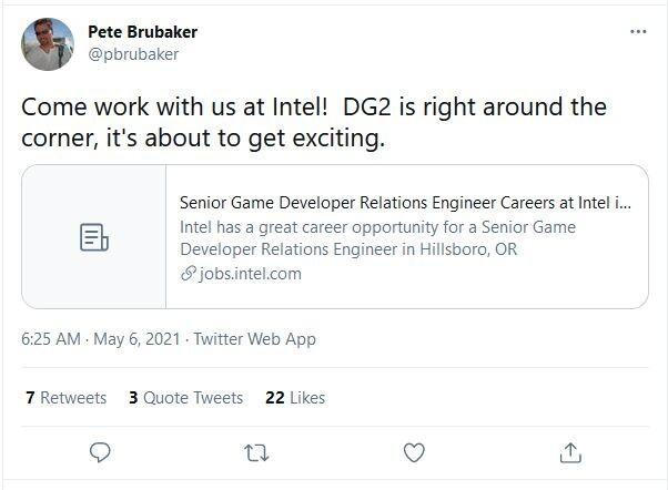 游戏开发者关系工程师透露:英特尔Xe DG2显卡