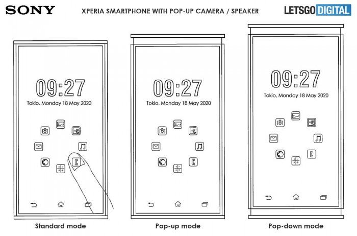 [图]索尼双升降手机专利曝光:顶部前摄 底部扬声器