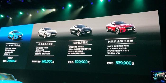 销售额265-370,900人民币:长安福特野马Mach-E正式在IT和交通运输领域上市