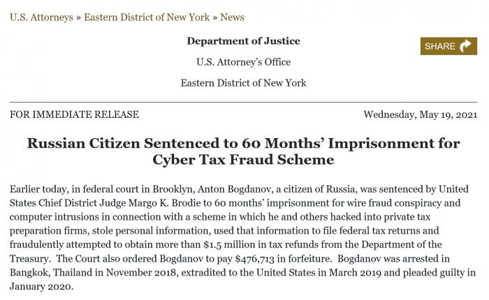 Screenshot_2021-05-20 Russian Citizen Sentenced to 60 Months' Imprisonment for Cyber Tax Fraud Scheme.png
