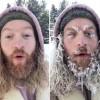 美国男子在零下26度室外待两小时记录胡子被冰冻过程